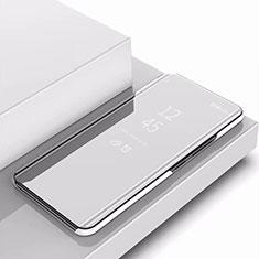 Funda de Cuero Cartera con Soporte Carcasa Espejo Carcasa para Samsung Galaxy A9s Plata