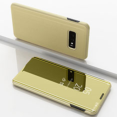 Funda de Cuero Cartera con Soporte Carcasa Espejo Carcasa para Samsung Galaxy S10e Oro