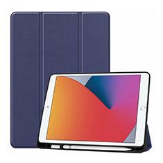 Funda de Cuero Cartera con Soporte Carcasa L01 para Apple iPad 10.2 (2020) Azul