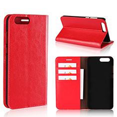 Funda de Cuero Cartera con Soporte Carcasa L01 para Asus Zenfone 4 ZE554KL Rojo