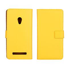 Funda de Cuero Cartera con Soporte Carcasa L01 para Asus Zenfone 5 Amarillo