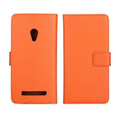 Funda de Cuero Cartera con Soporte Carcasa L01 para Asus Zenfone 5 Naranja