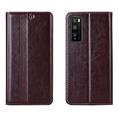 Funda de Cuero Cartera con Soporte Carcasa L01 para Huawei Enjoy 20 Pro 5G Marron