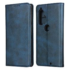 Funda de Cuero Cartera con Soporte Carcasa L01 para Motorola Moto Edge Plus Azul