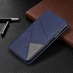 Funda de Cuero Cartera con Soporte Carcasa L01 para Motorola Moto G8 Plus Azul