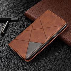 Funda de Cuero Cartera con Soporte Carcasa L01 para Motorola Moto G8 Plus Marron