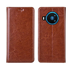 Funda de Cuero Cartera con Soporte Carcasa L01 para Nokia 8.3 5G Naranja