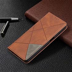 Funda de Cuero Cartera con Soporte Carcasa L01 para Samsung Galaxy A12 Marron
