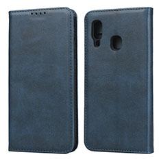 Funda de Cuero Cartera con Soporte Carcasa L01 para Samsung Galaxy A20e Azul