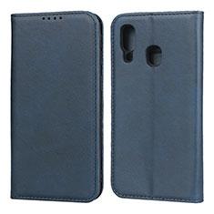 Funda de Cuero Cartera con Soporte Carcasa L01 para Samsung Galaxy A40 Azul