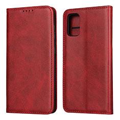 Funda de Cuero Cartera con Soporte Carcasa L01 para Samsung Galaxy A41 Rojo