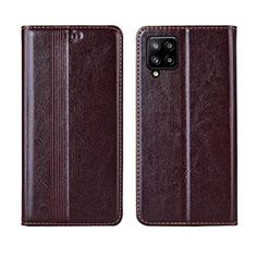 Funda de Cuero Cartera con Soporte Carcasa L01 para Samsung Galaxy A42 5G Marron