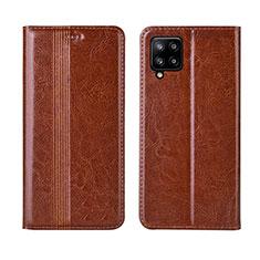 Funda de Cuero Cartera con Soporte Carcasa L01 para Samsung Galaxy A42 5G Marron Claro