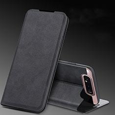 Funda de Cuero Cartera con Soporte Carcasa L01 para Samsung Galaxy A80 Negro