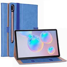 Funda de Cuero Cartera con Soporte Carcasa L01 para Samsung Galaxy Tab S6 10.5 SM-T860 Azul Cielo