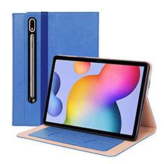 Funda de Cuero Cartera con Soporte Carcasa L01 para Samsung Galaxy Tab S7 Plus 12.4 Wi-Fi SM-T970 Azul