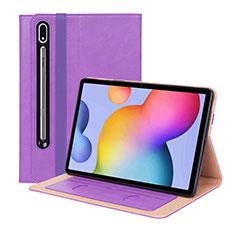 Funda de Cuero Cartera con Soporte Carcasa L01 para Samsung Galaxy Tab S7 Plus 5G 12.4 SM-T976 Morado