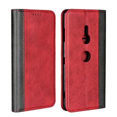 Funda de Cuero Cartera con Soporte Carcasa L01 para Sony Xperia XZ3 Rojo