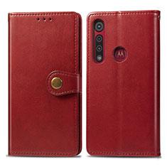 Funda de Cuero Cartera con Soporte Carcasa L02 para Motorola Moto G8 Play Rojo