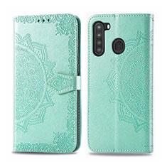 Funda de Cuero Cartera con Soporte Carcasa L02 para Samsung Galaxy A21 Menta Verde