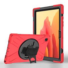 Funda de Cuero Cartera con Soporte Carcasa L02 para Samsung Galaxy Tab A7 Wi-Fi 10.4 SM-T500 Rojo