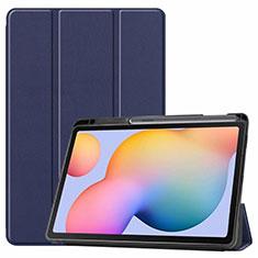 Funda de Cuero Cartera con Soporte Carcasa L02 para Samsung Galaxy Tab S6 Lite 4G 10.4 SM-P615 Azul