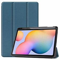 Funda de Cuero Cartera con Soporte Carcasa L02 para Samsung Galaxy Tab S6 Lite 4G 10.4 SM-P615 Verde