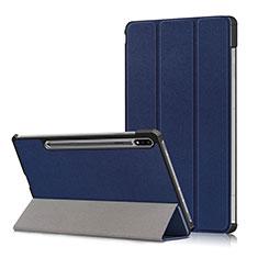 Funda de Cuero Cartera con Soporte Carcasa L02 para Samsung Galaxy Tab S7 11 Wi-Fi SM-T870 Azul