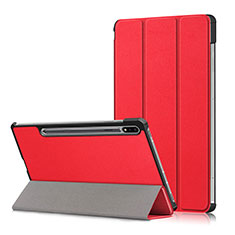 Funda de Cuero Cartera con Soporte Carcasa L02 para Samsung Galaxy Tab S7 Plus 5G 12.4 SM-T976 Rojo