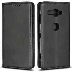 Funda de Cuero Cartera con Soporte Carcasa L02 para Sony Xperia XZ2 Compact Negro