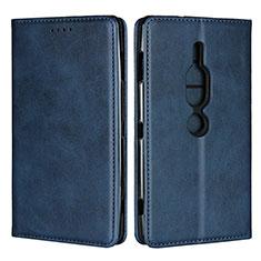 Funda de Cuero Cartera con Soporte Carcasa L02 para Sony Xperia XZ2 Premium Azul