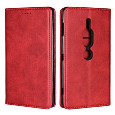 Funda de Cuero Cartera con Soporte Carcasa L02 para Sony Xperia XZ2 Premium Rojo