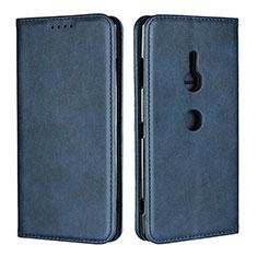 Funda de Cuero Cartera con Soporte Carcasa L02 para Sony Xperia XZ3 Azul