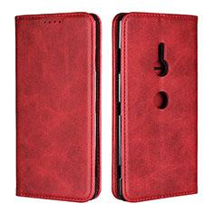 Funda de Cuero Cartera con Soporte Carcasa L02 para Sony Xperia XZ3 Rojo