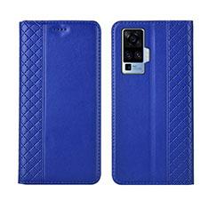 Funda de Cuero Cartera con Soporte Carcasa L02 para Vivo X50 Pro 5G Azul