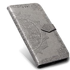 Funda de Cuero Cartera con Soporte Carcasa L02 para Xiaomi Mi Note 10 Lite Gris