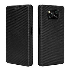 Funda de Cuero Cartera con Soporte Carcasa L02 para Xiaomi Poco X3 NFC Negro