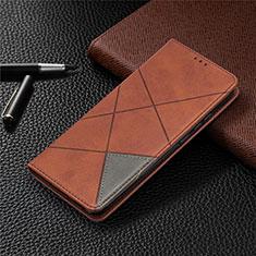 Funda de Cuero Cartera con Soporte Carcasa L02 para Xiaomi Redmi 9 India Marron