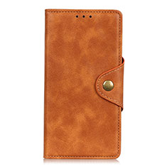 Funda de Cuero Cartera con Soporte Carcasa L02 para Xiaomi Redmi Note 9S Naranja