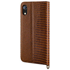 Funda de Cuero Cartera con Soporte Carcasa L03 para Apple iPhone XR Marron