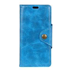 Funda de Cuero Cartera con Soporte Carcasa L03 para Asus Zenfone 5 Lite ZC600KL Azul