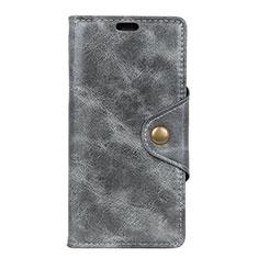 Funda de Cuero Cartera con Soporte Carcasa L03 para HTC Desire 12S Gris
