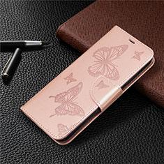 Funda de Cuero Cartera con Soporte Carcasa L03 para Huawei Y7p Oro Rosa
