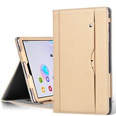 Funda de Cuero Cartera con Soporte Carcasa L03 para Samsung Galaxy Tab S6 10.5 SM-T860 Oro
