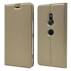 Funda de Cuero Cartera con Soporte Carcasa L03 para Sony Xperia XZ2 Oro