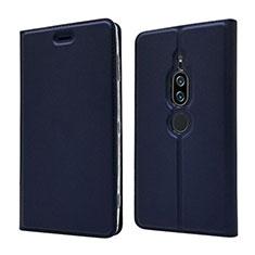 Funda de Cuero Cartera con Soporte Carcasa L03 para Sony Xperia XZ2 Premium Azul