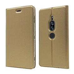 Funda de Cuero Cartera con Soporte Carcasa L03 para Sony Xperia XZ2 Premium Oro