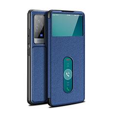 Funda de Cuero Cartera con Soporte Carcasa L03 para Vivo X60 Pro 5G Azul