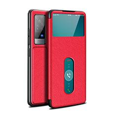 Funda de Cuero Cartera con Soporte Carcasa L03 para Vivo X60 Pro 5G Rojo