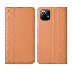 Funda de Cuero Cartera con Soporte Carcasa L03 para Xiaomi Mi 11 5G Naranja